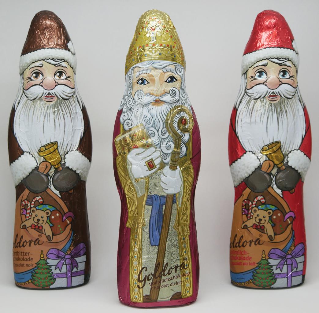 Zartbitter und Vollmilch Weihnachtsmann und Bischof
